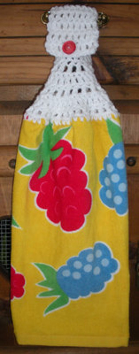 Fruity on Yellow Crochet Top Hanging Towel