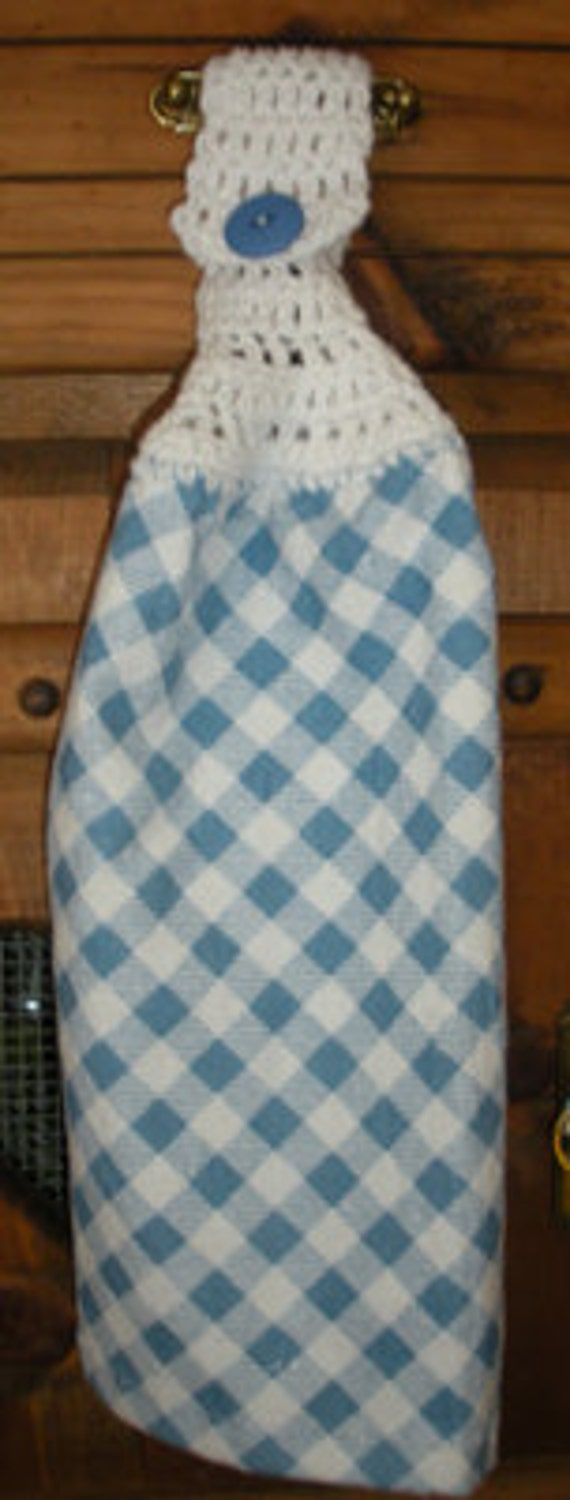 Blue Checked Crochet Top Hanging Towel
