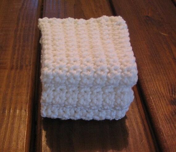 White Cotton Crocheted Dishcloths - Set of 3