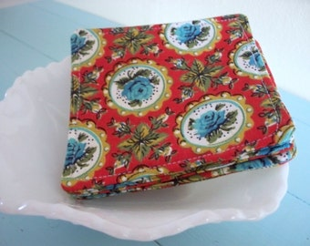 fabric coasters in vintage aqua roses (set of 4)