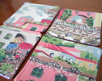 coasters in little pink houses set of 4