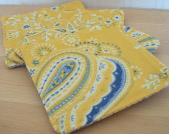 fabric drink coasters yellow blue set of four