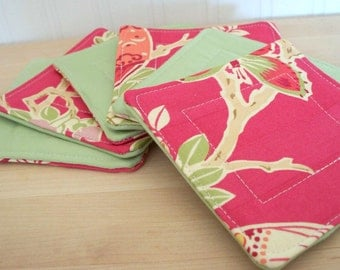 fabric coasters - bright set of six