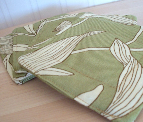quilted fabric coasters - olive