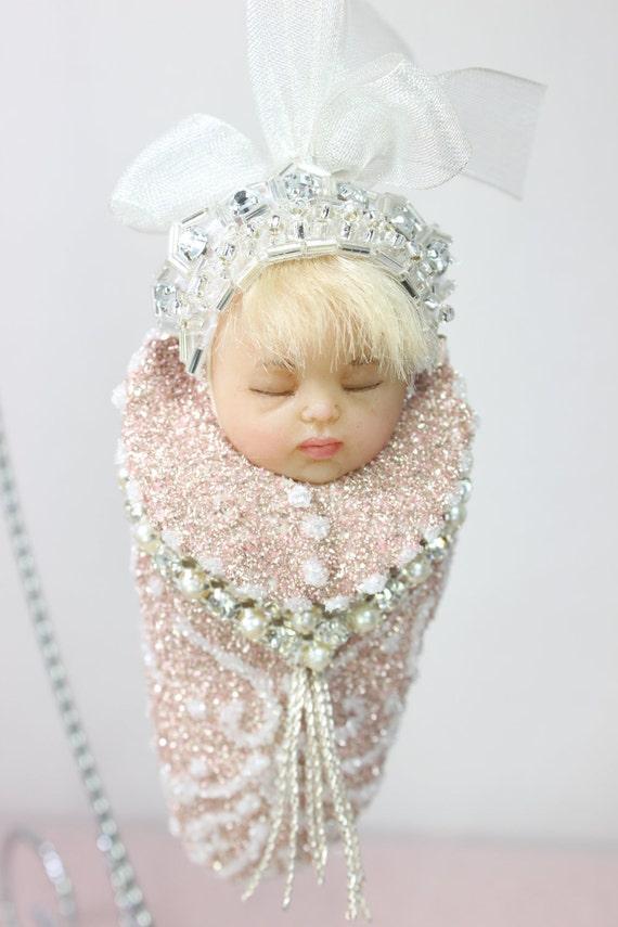 Christmas ornament OOAK Sleeping baby  figurine clay ornament by Sarah Niemela