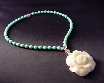 4 year anniversary - Flower Anniversary Gifts - white flower necklace - Flower Jewelry -  turquoise  - cream - ivory - rose - flower charm