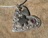 Autism Awareness Fine Silver Heart Pendant with Birthstone