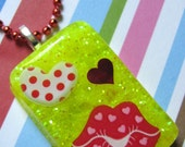 Valentines Day Red Lips Resin Necklace