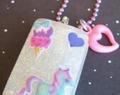 Blue Unicorn Love Resin Necklace