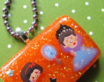 Mirror Mirror Snow White Resin Necklace