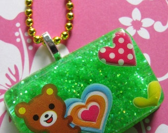 Brown Bears Heart Resin Necklace