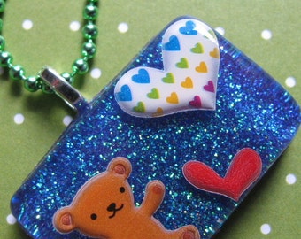 Valentines Day Brown Bear And Hearts Resin Necklace