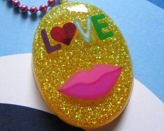 I Love You Resin Necklace