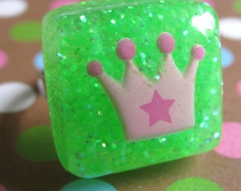 Green Kawaii Princess crown ring