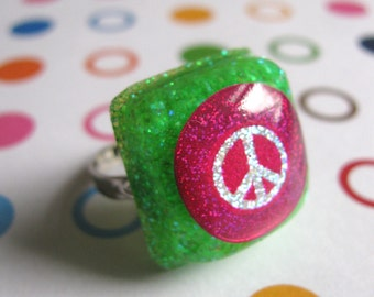 Pink Peace Sign Resin Ring