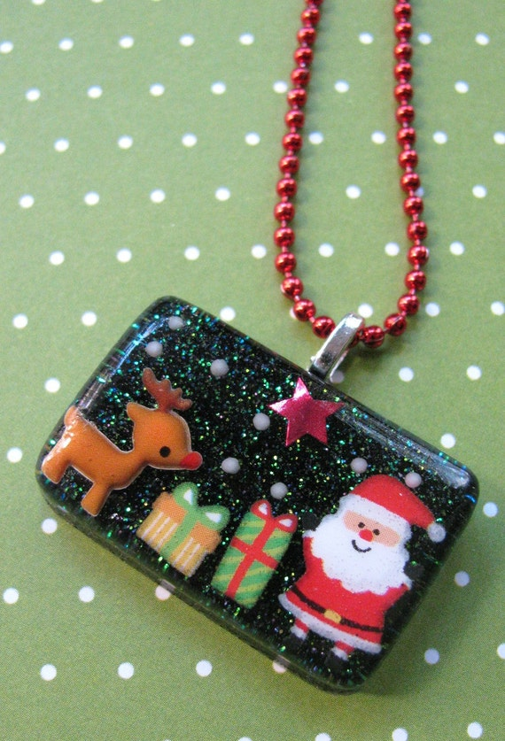 It's Christmas Time Resin Necklace