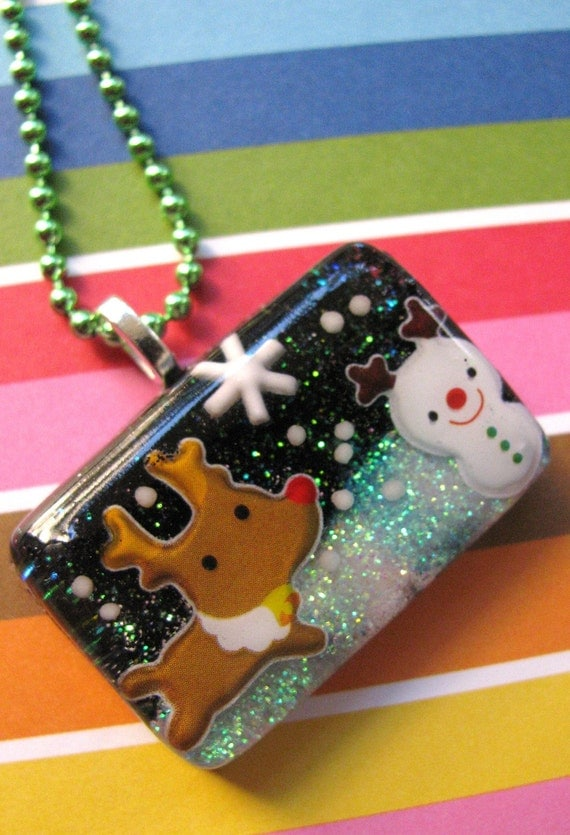 Rudolph And The Snowman Resin Necklace