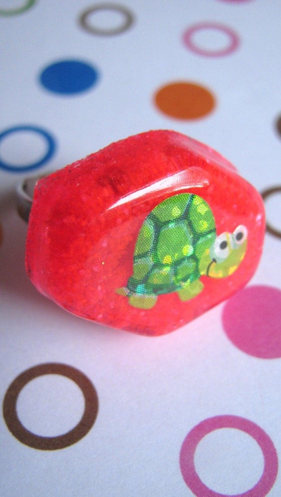 Happy Green Turtle Resin Ring