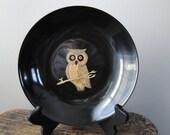Vintage Inlaid Owl Plate