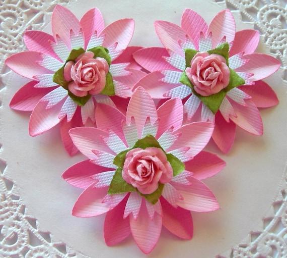 Paper Flowers-Rose-Pink-Set of 3