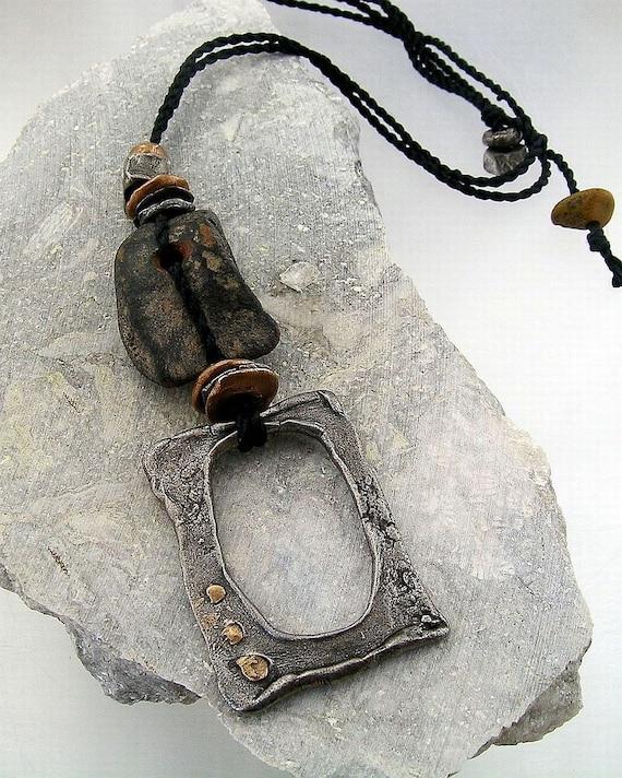 """Urban Primitive Boro Portal Pendant - Steel, Bronze and Bone Fossil """"OOAK"""" Pendant"""