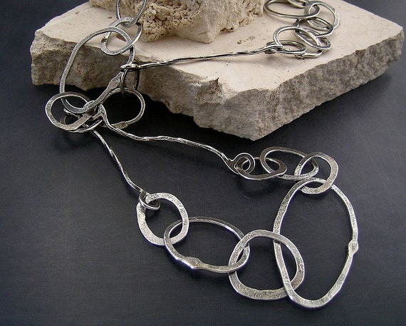 Eccentric Links: Forged and Hand-formed Sterling Silver Chain Link Necklace