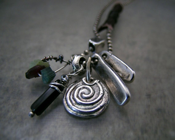 I Am Infinite ... petite version, All One Talismans, Fine Silver Pendant and Text Nuggets with Watermelon and Green Tourmaline