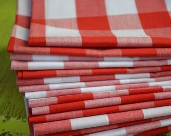 Red Gingham Cloth Napkins, Cocktails, Luncheon and Dinner Size, Set of four