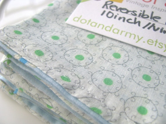 Set of 6 Light Blue and Green Reversible Cloth Napkins  Made from Vintage Fabrics- 10 inch