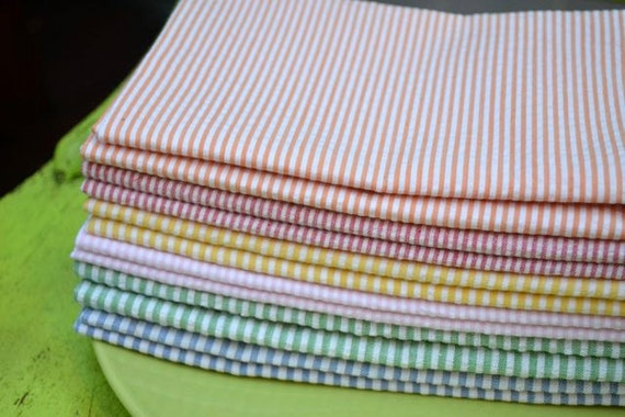 Eco Friendly Cloth Napkins, Seersucker Set of 6-18 inch by Dot and Army