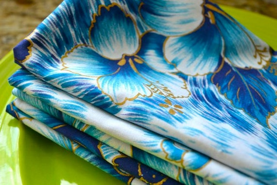 Eco Friendly Cloth Napkins, Set of 6-18 inch Blue Hawaii from Vintage Fabric by Dot and Army