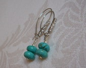 Tempting Turquoise Stone & Sparkling Rhinestone Earrings