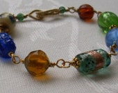 Blue, Green Topaz Glass Gold Bracelet with Handmade Clasp