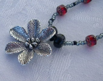 Red Czech Glass, Blackstone Bead Flower Pendant Necklace, Asian, Tribal