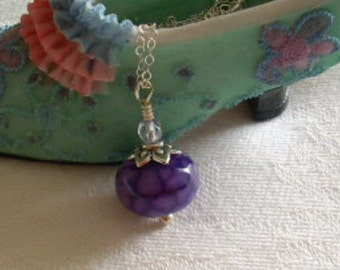 Purple Agate Gemstone Necklace with Sterling Silver Chain