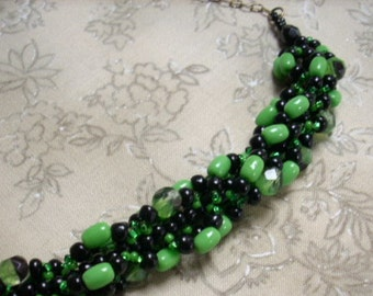 Green Black Beadwoven CHLOE Necklace Antiqued Brass Chain May Birthday