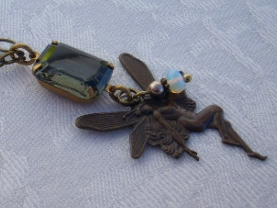 SALE- Fairy Necklace with Vintage Glass Jewel