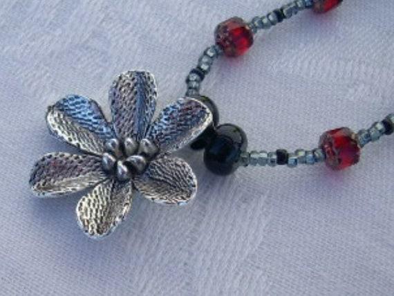 Red Czech Glass, Blackstone Bead Flower Pendant Necklace, Asian, Tribal