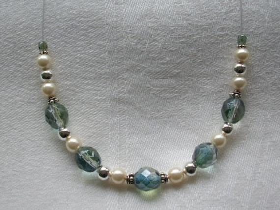 Something Blue Swarovski Pearl Bridal Necklace Set