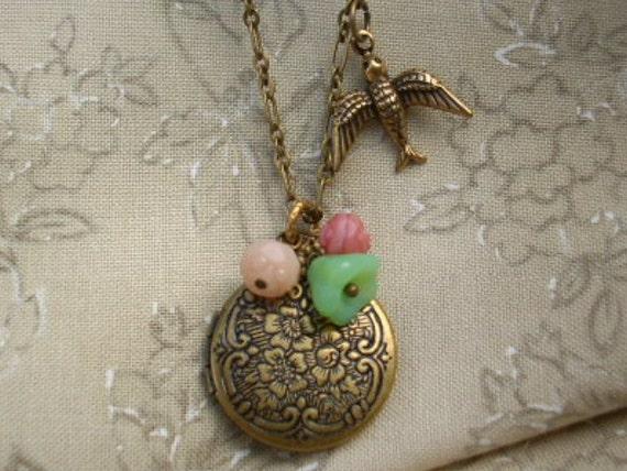 Antiqued Brass Floral Locket Brass Chain with Bird, Flower