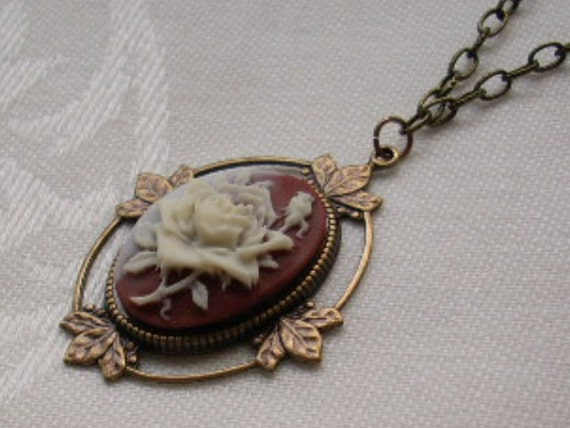 Ivory Rose Cameo Necklace  Antiqued Brass Leaf Setting