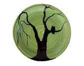 Owl plate lime green black and copper decorative