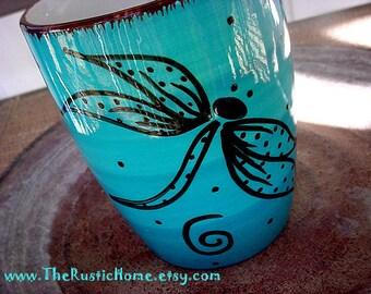 Dragonfly pottery mug in your choice of color custom mug dragonflies mug 12oz 12 ounce mugs made to order pottery drinkware coffe mug tea