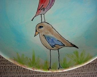 Ceramic pottery plate custom family tree birds kiln fired