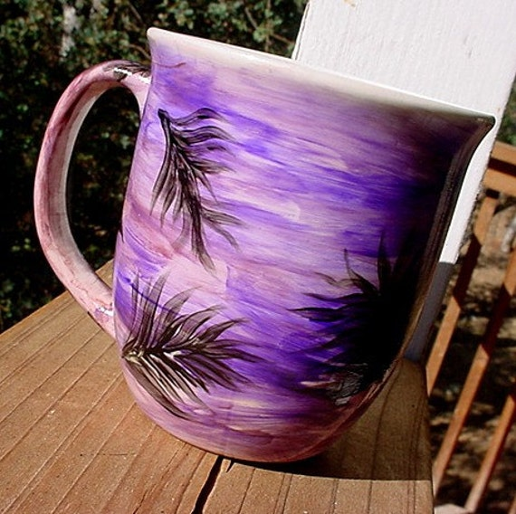 Feather mug choose your colors pottery mug cup plumes Mothers Day gift