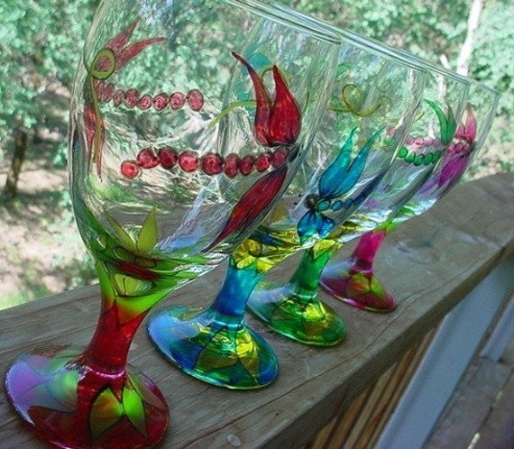 Dragonfly glassware glass goblets custom colors