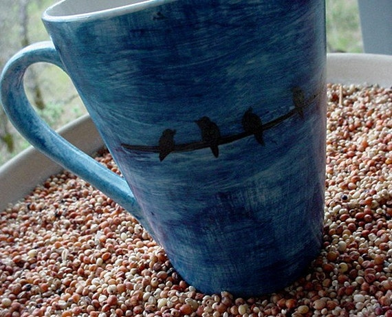 Pottery mug birds on a wire you choose background color urban design