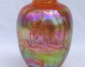 Hand Blown Salmon With Luster Colored Vase