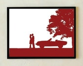 Couple Silhouette Art Print - A Walk in the Park - Engagement Gift, Wedding Anniversary Gift