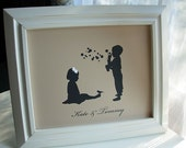 Personalized Siblings Silhouette Print - available in different silhouette choices